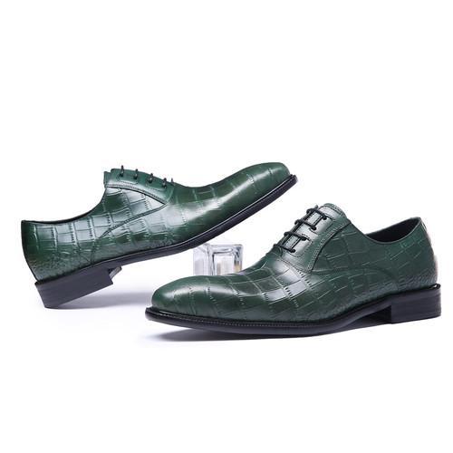 FELIX CHU Italian Spring Autumn Men Formal Wedding Shoes Genuine Cow Leather Crocodile Print Party Man Green Dress Shoes