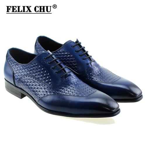 FELIX CHU Luxury Italian Genuine Cow Leather Men Blue Black Wedding Oxford Shoes Lace-Up Office Suit Men's Dress Shoe #D560-20A