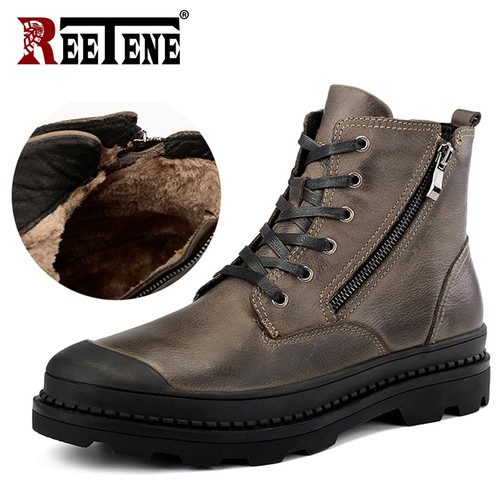 REETENE Genuine Leather Men'S Boots High Quality Leather Men Boots Plush 2018 Zipper Winter Ankle Boots Men Fur Snow Boots 38-47