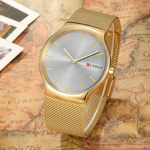 Curren Mens Watches Top Brand Luxury Gold Stainless Steel Men Quartz Watch Fashion Business Male Wristwatches Relogio Masculino