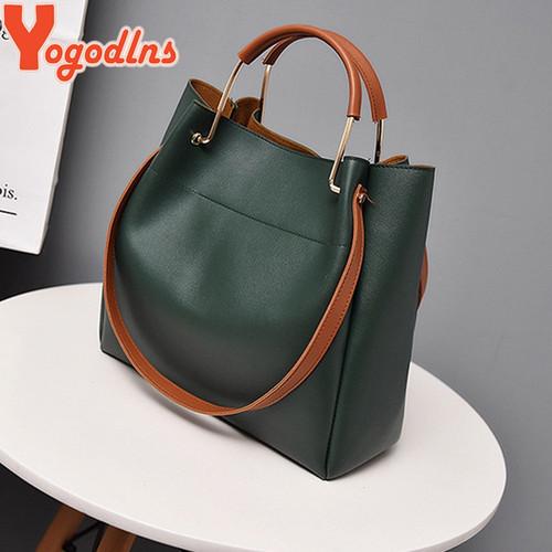 Yogodlns Fashion Female Shoulder Bag Leather Women Handbag Simple Style Messenger Bag Top-handle Large Capacity Hand Bags
