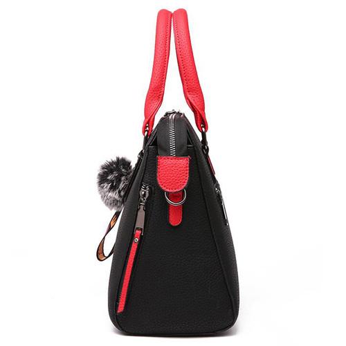 PU Leather Women Messenger Bag Fur Ball Crossbody Flap Bag Female  Shoulder Bag Solid Color Handbags