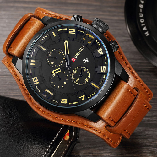 Curren Men's Casual Sport Quartz Watch Mens Watches Top Brand Luxury Quartz-Watch Leather Military Watch Wrist Male Clock 8225