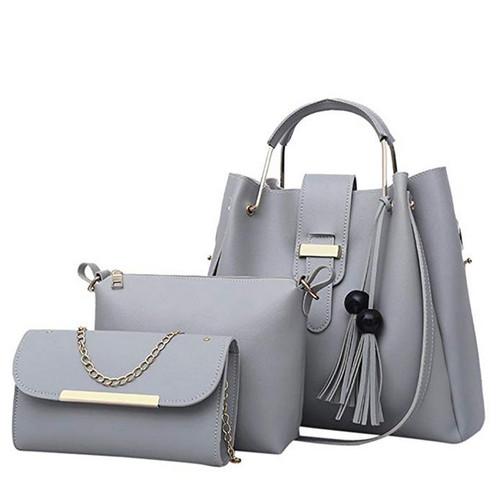 Women Handbags Leather Shoulder Bags Large Capacity Casual Tote Bag Female Tassel Bucket Purses And Handbags Sac Femme 3Pcs/Sets