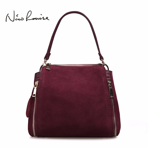2018 Brand New Women Real Suede Leather Shoulder Bag Fashion Leisure Doctor Handbag For Female Girls Top-handle Bags Sac A Main
