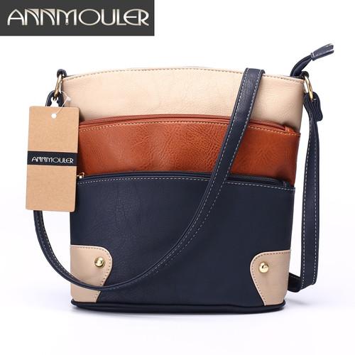 f02a24e35 Annmouler Women Patchwork Shoulder Bag 4 Colors Crossbody Bag Tote Bag  Three Zipper Messenger Bag High · Choose Options Compare