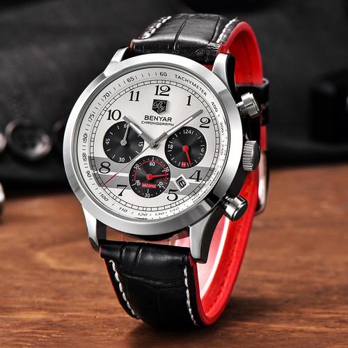 BENYAR watch men Chronograph quartz watches Full Steel Waterproof Analog Army Military Sport Watch Clock Relogio Masculino