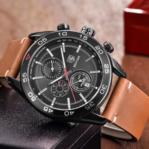 BENYAR Fashion Business Men Luxury Brand Quartz Watch Mens Waterproof Sport Chronograph Watches relogio masculino Clock Male