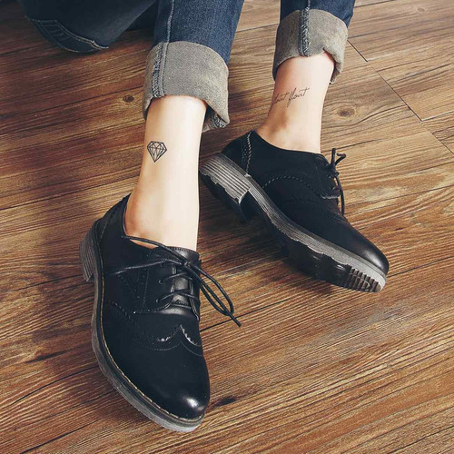 Teahoo Oxford Shoes for Women 2018 British Style Flats Brogues Leather Shoes Woman Handmade Lace up Oxfords Women Shoes