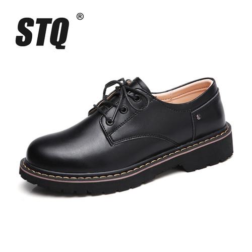 STQ 2018 Autumn women oxford shoes casual flats dress black work shoes women genuine Leather lace up boat shoes moccasins WF031
