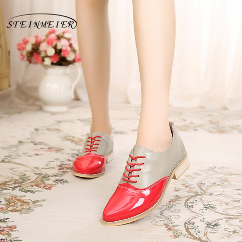 100% Genuine cow leather brogue casual designer vintage lady flats shoes handmade oxford shoes for women red blue silver