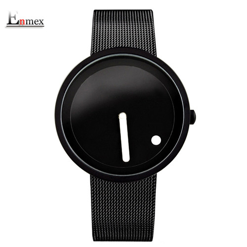 Enmex cool Minimalist style wristwatch Stainless Steel creative design Dot and Line simple stylish quartz fashion watch