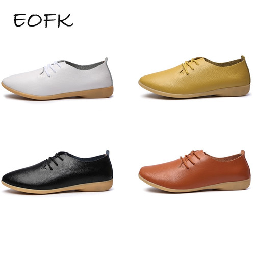 EOFK 2018 Autumn Women Flats Shoes Woman Leather Lace Up Female Casual Oxford Ladies White Flat Plus Large size Shoes