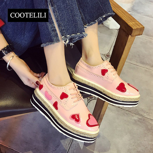 COOTELILI 35-39 Spring Flats Platforms Women Shoes Print Heart-Shaped Lace-Up Wedges Brogue Shoes Round Toe Flat Casual Oxfords