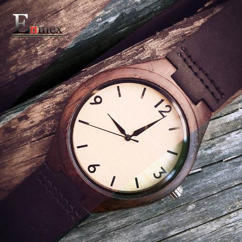 2018 Holiday memorial day Gift Enmex  The good old days wooden Nostalgia wristwatch handmade Pure natural leather quartz watches
