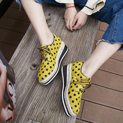 MLJUESE 2018 women flats horsehair  lace up Polka dot yellow  color autumn spring platform loafers casual shoes creeper shoes