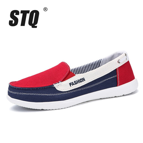 STQ 2018 Autumn women canvas sneakers for woman slip on loafers shoes women flats tennis shoes ladies flat slip on sneakers 987