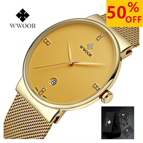 WWOOR Watch Men Top Brand Luxury Day Date Quartz Watches Stainless Steel  Mens Sport Wrist Watches Men Waterproof Male Clock