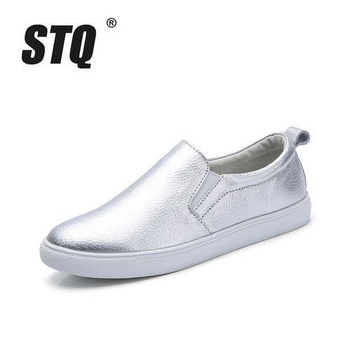 STQ 2018 Autumn Women Leather Loafers Fashion ballet flats sliver white Shoes woman Slip On loafers black tennis shoes for women