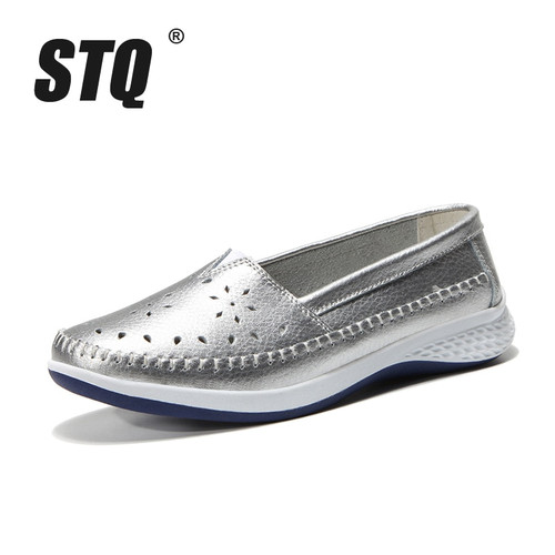 STQ 2018 Autumn women ballet flats leather loafers cutout sliver white black walking Shoes Woman Slip On loafers boat shoes 7685