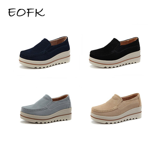 EOFK New Spring Autumn Moccasin Women's Flats Suede Genuine leather Shoes Lady Loafers Slip On Platform Woman Moccasins