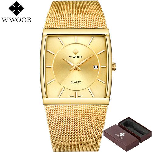 New WWOOR Brand Luxury Men Square Waterproof Gold Watch Men's Quartz Sports Watches Male Stainless Steel Clock relogio masculino