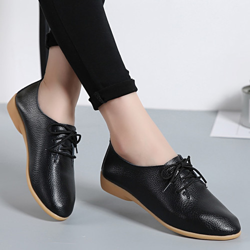 Plus size Loafers Women Shoes Lace up Moccasins Soft Female Ladies Shoes Autumn Spring Casual Soft Footwear Women Flats CJ01
