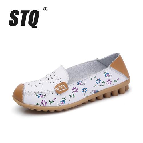 STQ 2018 summer women flat shoes genuine leather ballet flats shoes cutout flats ladies slip on loafers nurse boat shoes 3569