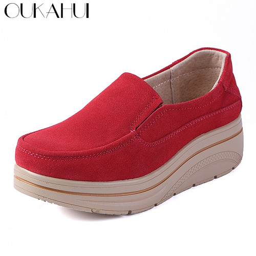 OUKAHUI Autumn Genuine Leather Flat Platform Shoes Women Shake Silp-On 2018 Thick Fashion Increase Height Casual Shoes Women New
