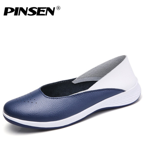 PINSEN Genuine Leather Sneakers Women Loafers Ballet Flats Shoes Creepers Female Flat Shoes Woman Slip On Loafers Boat Shoes