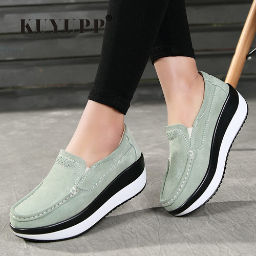 KUYUPP Platform Shoes Woman Flat Shoes Women Flats Slip On Leather Loafers Creepers Breathable Casual Shoes Plus Size 10 D1478