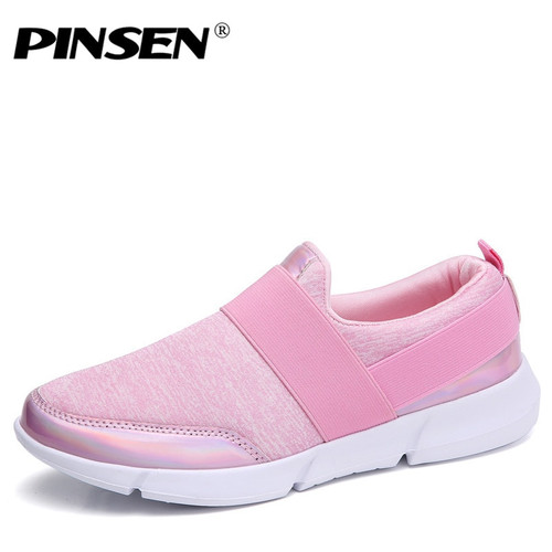 PINSEN 2018 Autumn Sneakers Women Shoes Breathable Loafers Flat Shoes Woman Slip-on Casual Shoes tenis feminino Flats Shoes