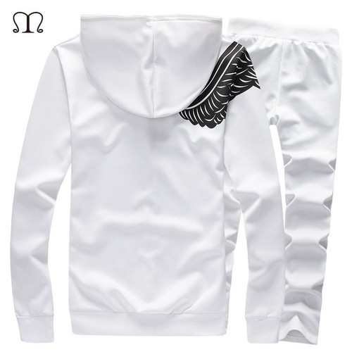 Mens Track suits 2017 Sportswear Men Tracksuits New Brand Wing Print White Sportwear Set Golden Embroidery Zipper Tracksuit 5XL