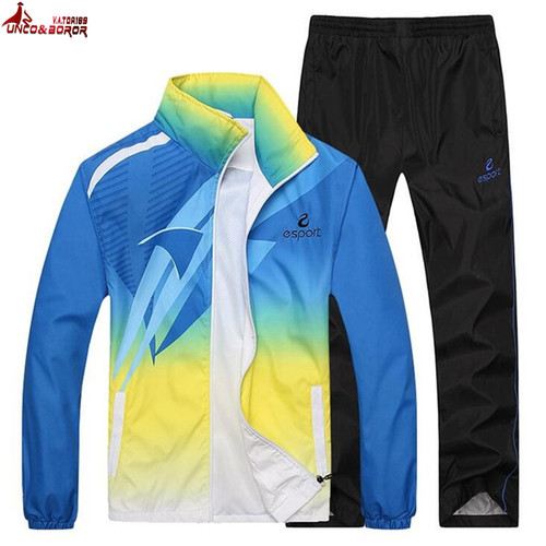 UNCO&BOROR New fashion spring autumn men women hoodie sweatshirt outwear Gradient color tracksuit men set brand-clothing+pants