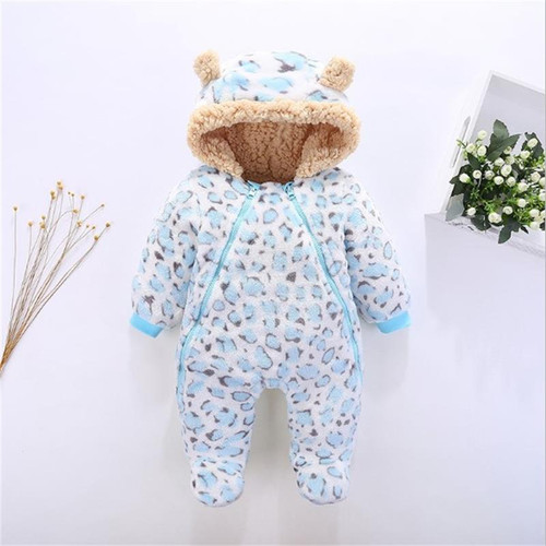 Winter Baby Rompers Clothes Long Sleeved Newborn Boy Girl Coral Fleece Baby Leopard Jumpsuit Infant Baby Clothing for 0-12M