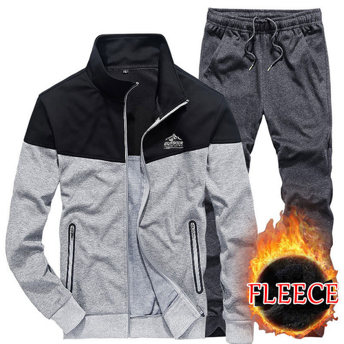 Brand Men Winter Fleece 2pcs Warm Casual Two Sets Man Long-Sleeve Trousers Cardigant Sweatpant + Sweatshirts Men's Sets Fashion