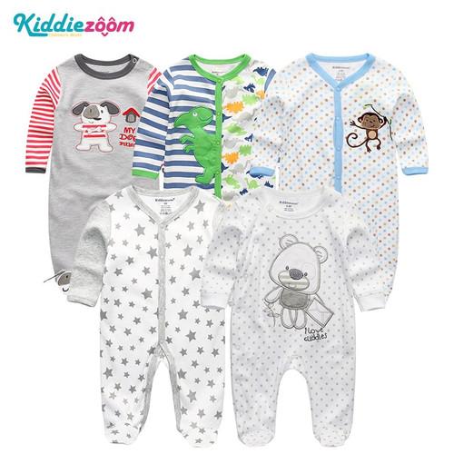 5Pcs/Lot Unisex Top Quality Baby Rompers Long Sleeve Cottom O-Neck 3,6,9,12M Newborn Boys&Girls Roupas De Bebe Baby Clothes