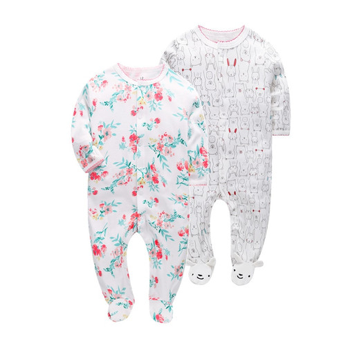 2 pcs/pack  2018 Super Soft Baby Rompers cotton Overalls Newborn Clothes Long Sleeve Roupas de beb Infant kids girl clothing