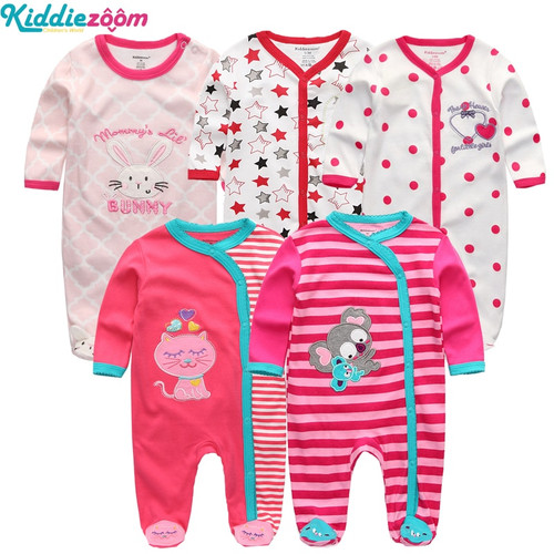 2018 5PCS/lot Newborn Baby Girl Rompers Full Long Sleeve Cotton Jumpsuit O-Neck 0-12M Baby Playsuit Clothes Inftant Boy Clothing