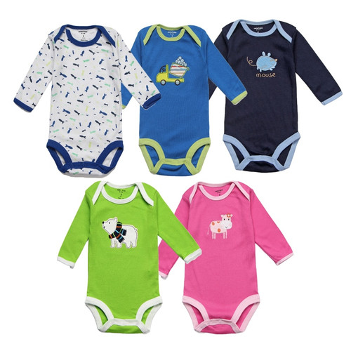 5Pcs/lot Baby Rompers Spring Baby Boy Clothes Cotton Baby Girl Clothing Roupas Bebe Infant Baby Jumpsuits Newborn Clothes