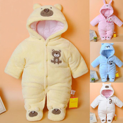 Newborn Baby Rompers Cartoon Hooded Winter Baby Clothing Thick Cotton Baby Girls Outfits Baby Boys Jumpsuit Infant Clothes