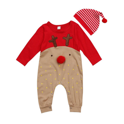Cute Newborn Baby Rompers Cotton Long Sleeve CartoonToddler Jumpsuit Infant Christmas Clothes Baby Boys Girls Clothing