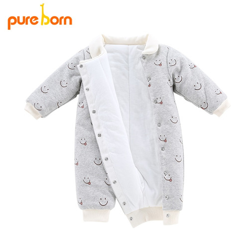 Pureborn 1 Set Warm Cotton Baby Romper Winter Infant Girls Boys With Smile Face Long Sleeve Romper+First Walkers+Infant Gloves