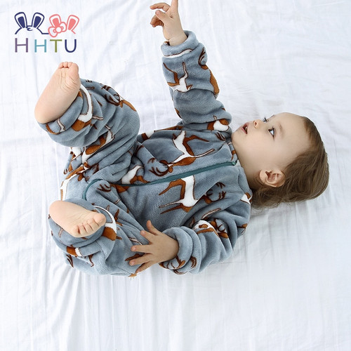 HHTU 2018 Infant Romper Baby Boys Girls Jumpsuit Newborn Clothing Hooded Toddler Baby Clothes Cute Elk Romper Baby Costumes