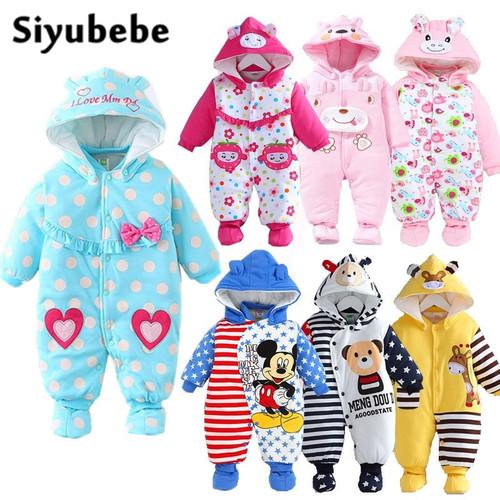 Baby Winter Romper 2016 New Brand High Quality Cartoon Cotton Thicken Warm Infant Bebe Jumpsuit Newborn Baby Boy Girl Clothes