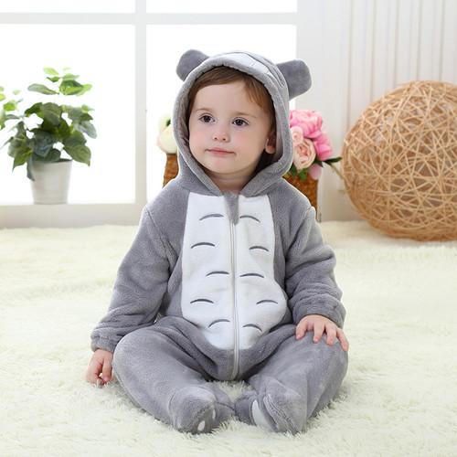 Newborn Totoro Romper Hooded Sleepwear Baby Girl Clothes Cartoon Jumpsuit Flannel Pajamas Onesie Boys Baby Rompers Home Clothes