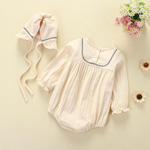 Baby Girl Romper Spring Summer 2018 Newborn Baby Clothes Girl Long Sleeve 100% Cotton Princess Infant Girls Jumpsuit With Hat