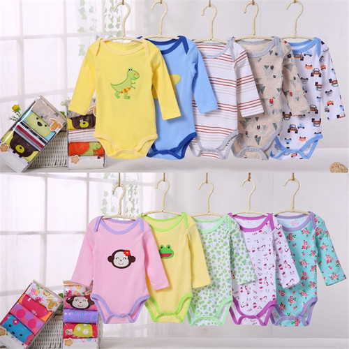 5Pcs Unisex Baby Rompers Spring Baby Girl Clothes Roupa Bebes Newborn Baby Clothes Long Sleeve Infant Baby Boy Jumpsuits