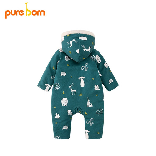 Pureborn Christmas Deer Baby Romper For Baby Boys And Girls Hooded Thick And Warm Winter New Year Gift Brand Costumes Rompers