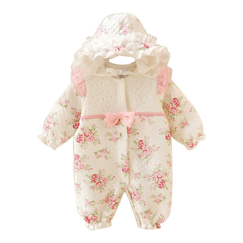 Floral Winter Thicken Newborn Baby Clothes Warm Kids Girl Clothing Set Rompers + Hats Princess Girls Jumpsuits Outerwear